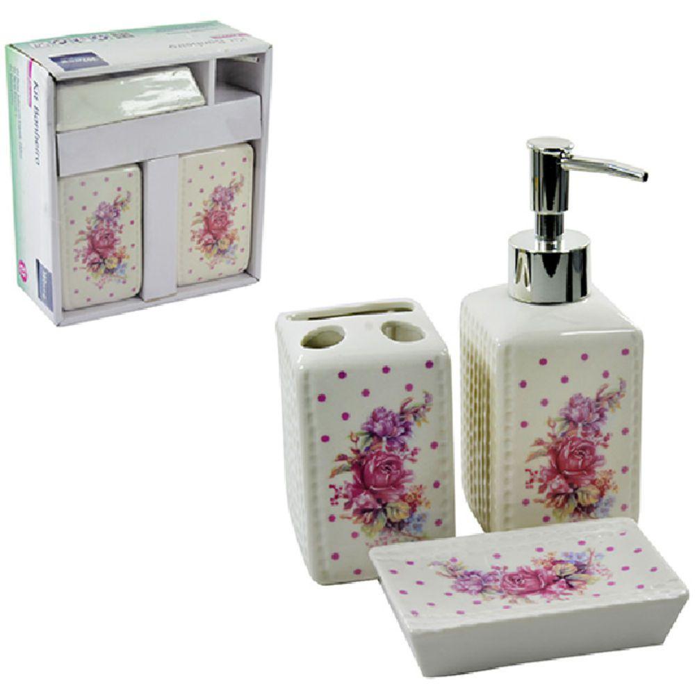 Conjunto Jogo Para Banheiro Em 3 Peças flower Porcelana - PRB01042