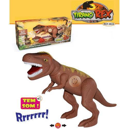 Dinossauro Tirano Rex Com Dispositivo De Som 43cm Adijomar - Marrom (REF: 0824)