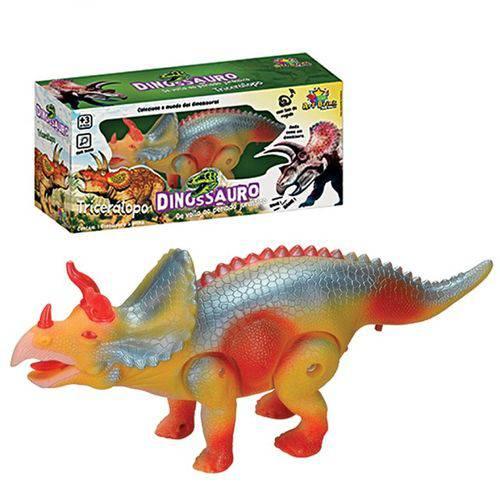 Dinossauro Tricerátopo Com Som, Luz E Movimento Brinquedo Eletrônico REF 3832