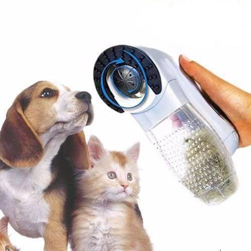 Escova Elétrica Aspirador Suga Pelo Pet Cachorro E Gato Portátil (REF: PET-442)
