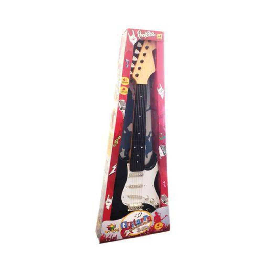 Guitarra Brinquedo Infantil Elétrica C/som Corda De Aço -  Preta - ZF4746