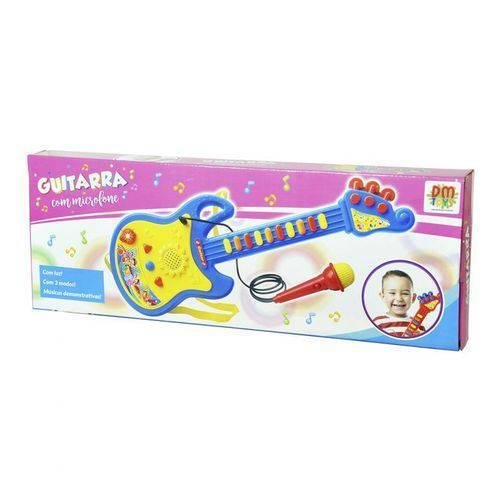 Guitarra Com Microfone Azul e Amarelo - Dm Toys - DMT 5379