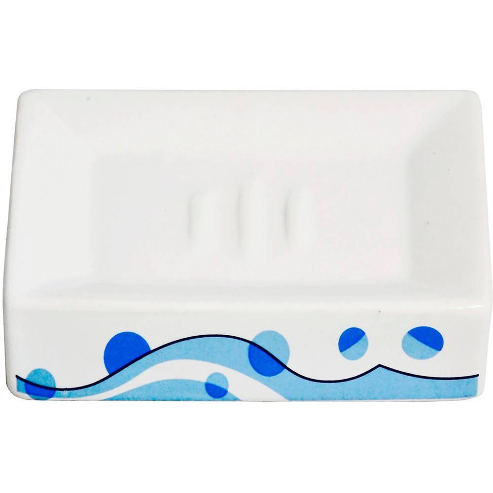 Jogo de Banheiro Bolhas 4 Peças de Porcelana Azul - DM Brasil(DMP0186)