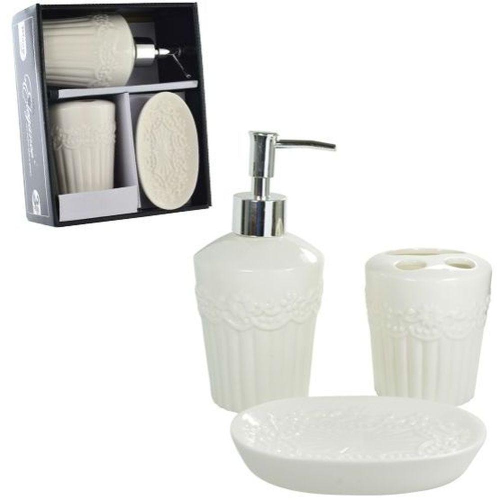 Jogo para Banheiro de Porcelana Flores Premium com 3 Peças - PRB01010 WINCY