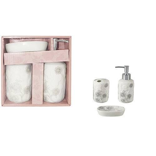 Jogo Para Banheiro De Porcelana Redondo Decorado Com 3 Pçs - WX628 branco