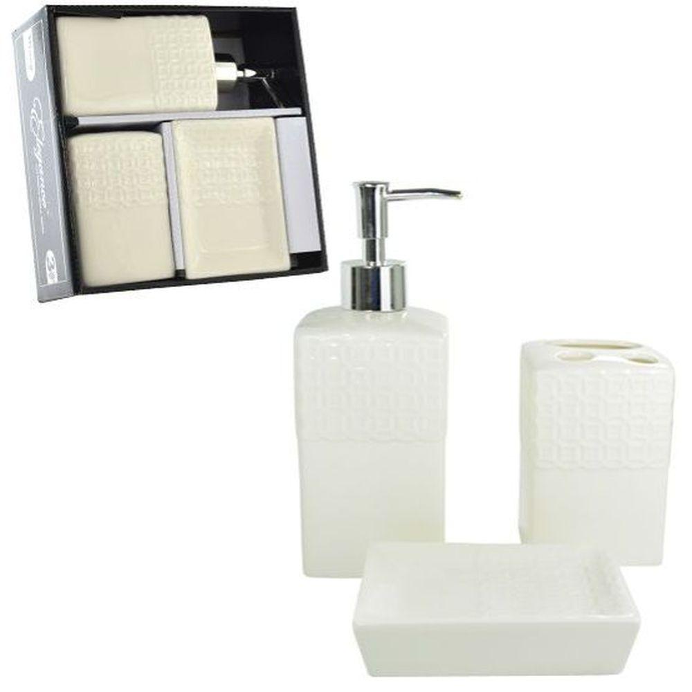 Jogo para Banheiro de Porcelana Renda Premium com 3 Peças - PRB01009 WINCY