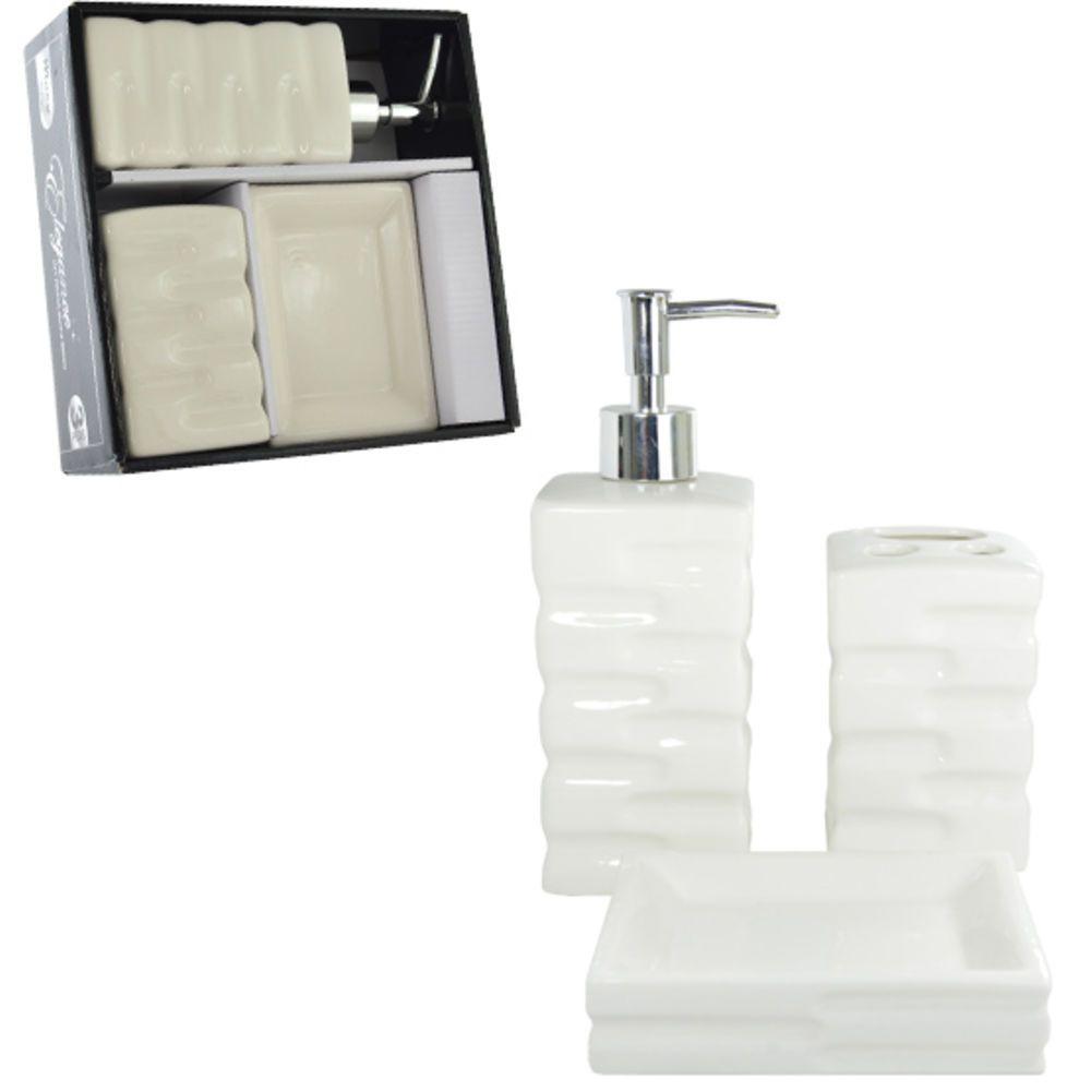 Jogo Para Banheiro De Porcelana Venus Premium Com 3 Pecas - PRB01006 WINCY