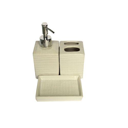 Kit Banheiro Porcelana Quadrado ZF 4721 Bege