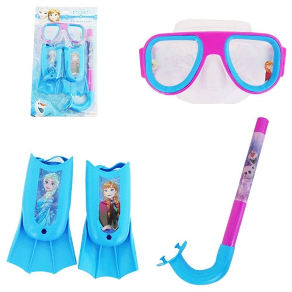 Kit Mergulho Snorkel Com Máscara E Pé de Pato Frozen Disney