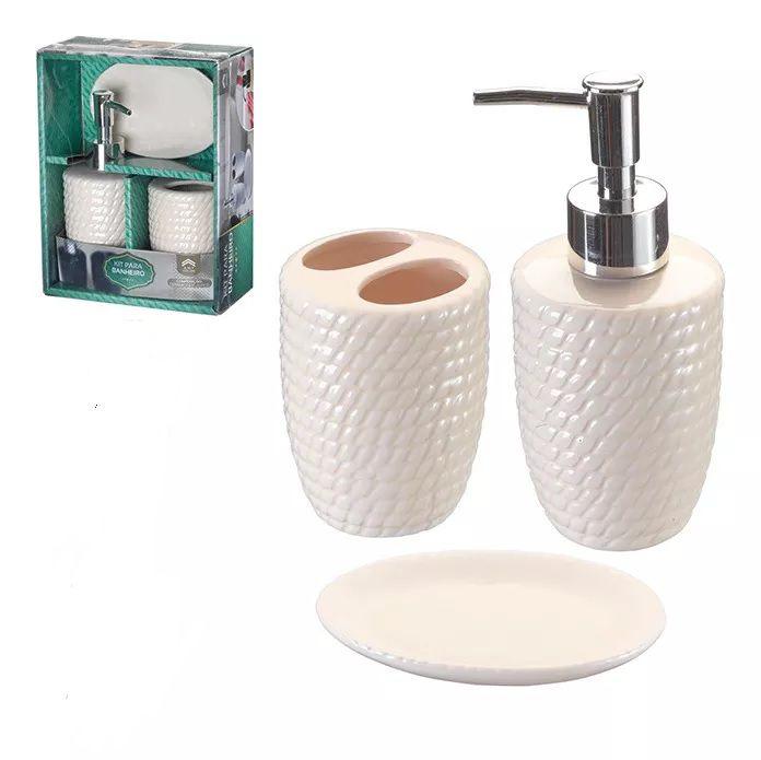 Kit Para Banheiro Saboneteira  3 Peças  (XC 922) Bege