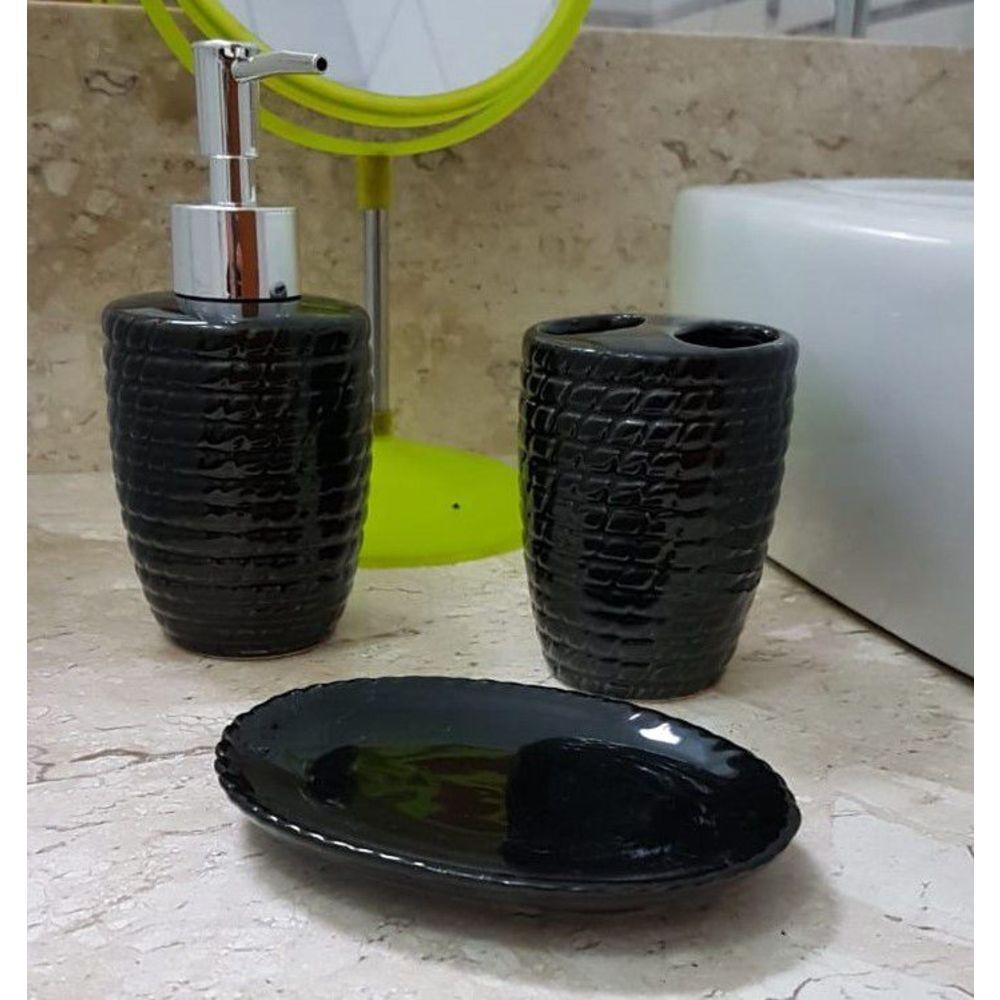 Kit Para Banheiro Saboneteira  3 Peças  (XC 922) Preto