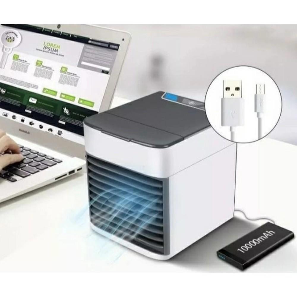 Mini Ar Condicionado de Mesa USB com Carregador Portátil Power Bank 20000