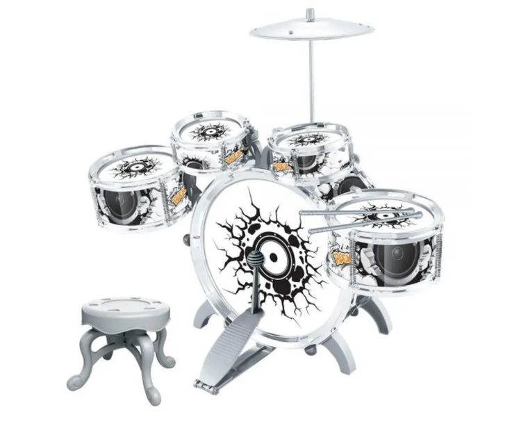 Mini Bateria Musical Infantil Com Pedal Rock Party Dm Toys DMT 5366