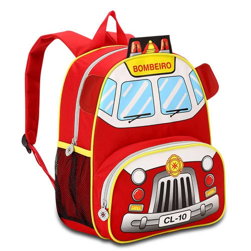Mochila Costas Infantil Clio Kids Bombeiro Vermelho