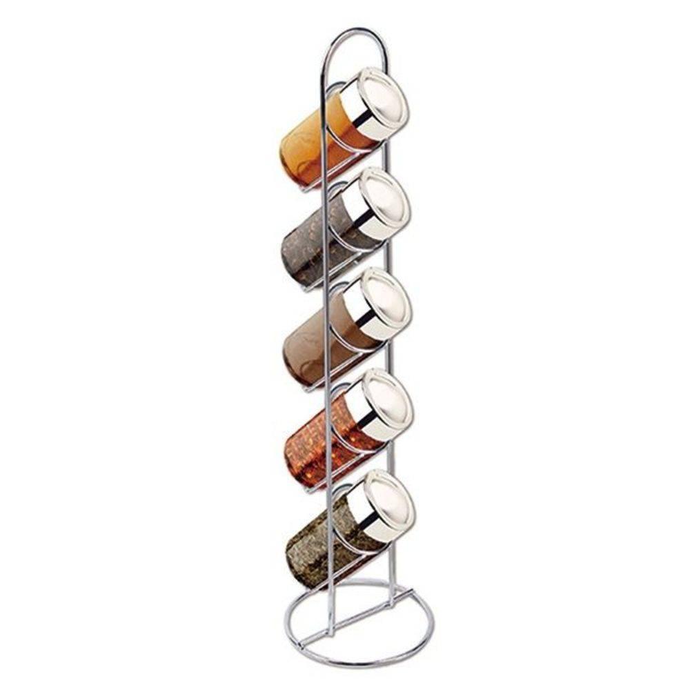 Porta Condimentos 5 Potes De Vidro Suporte Cromado Art House (REF:Bs 1487)