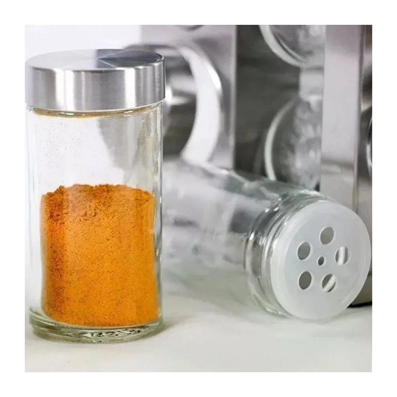 Porta Condimentos E Temperos Em Inox 16 Potes Base Giratoria  LOGOSPAN