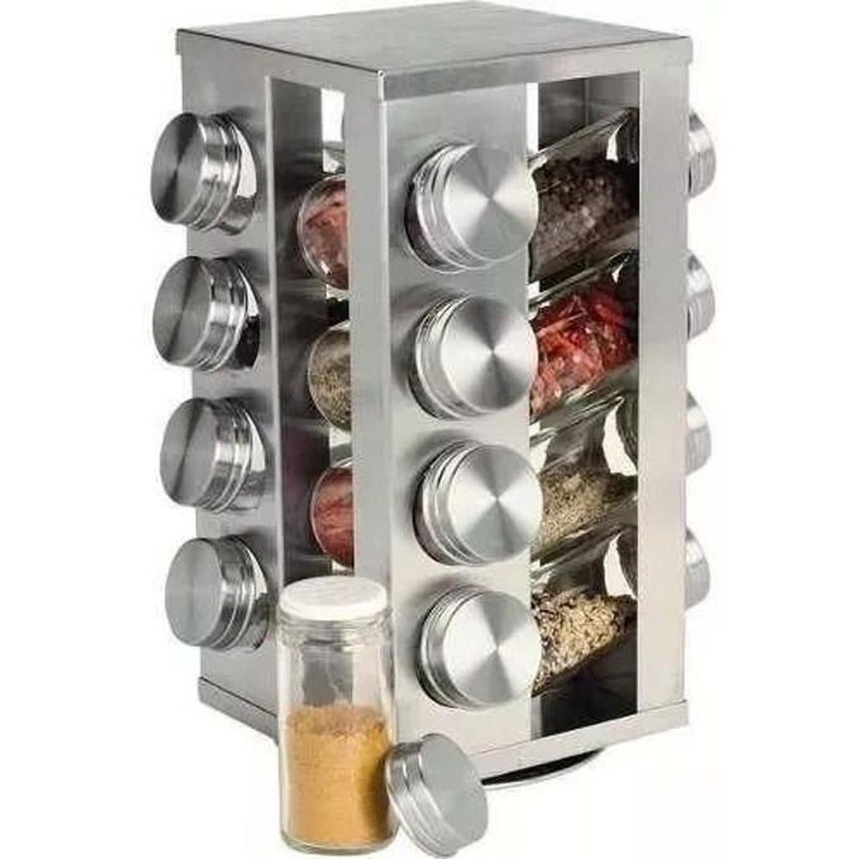 Porta Condimentos Inox 16 Potes Vidro e Tampa Inox