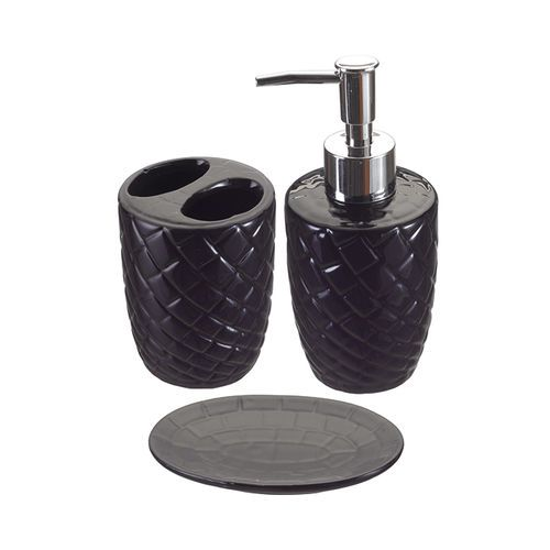 Porta Sabonete Liquido Saboneteira Kit Banheiro Preto 3 Peças XC 921 PRETO