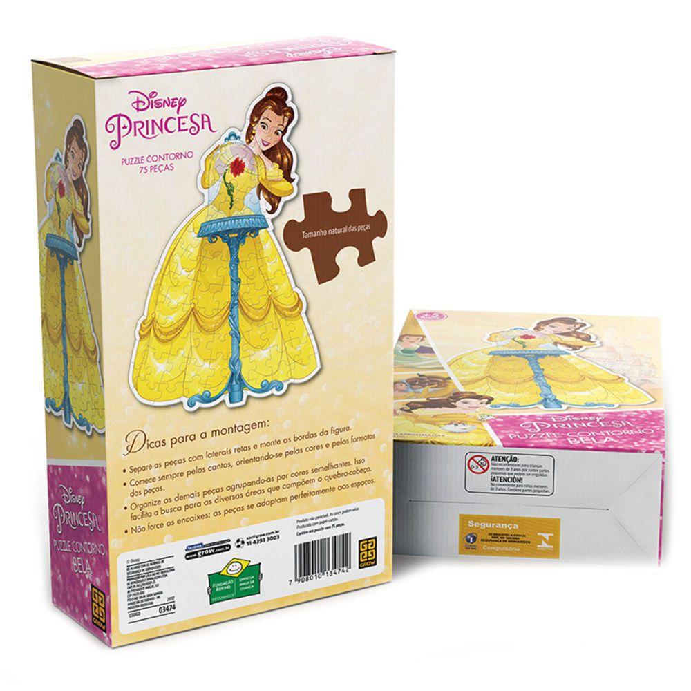 Puzzle Contorno Princesa  Bela Disney 70 Peças - Grow