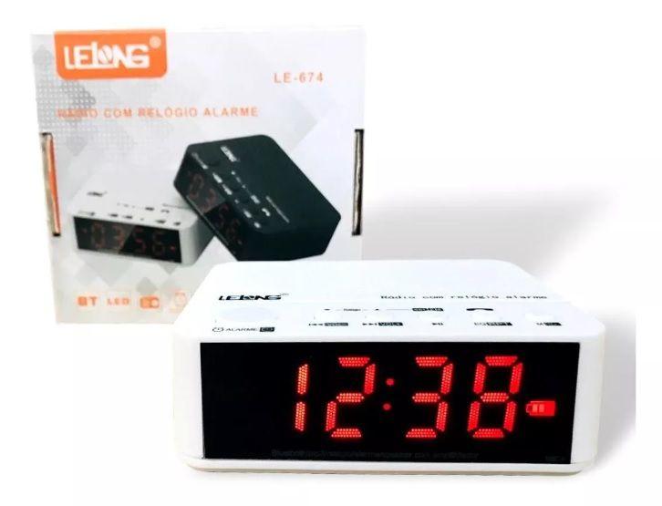 Rádio Relógio Digital Despertador Bluetooth Cartão D Memória Lelong LE-674