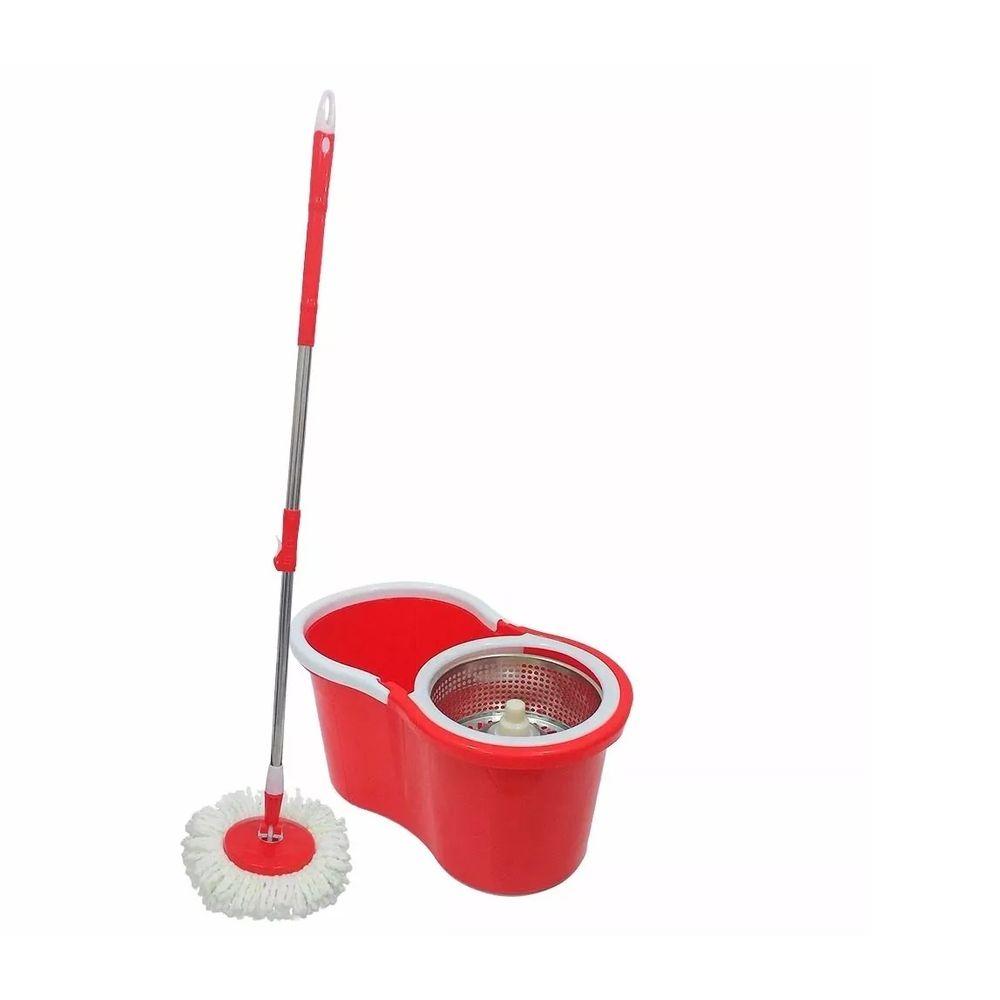 Super Mop Com Balde De Inox - Vermelho - 2 refis
