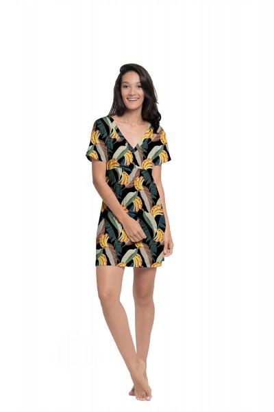 Vestido Japonesa Curto - Banana Tropical   - Lalie Lalou
