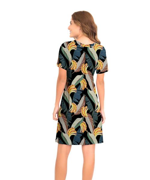 Vestido Japonesa Médio - Banana Tropical  - Lalie Lalou