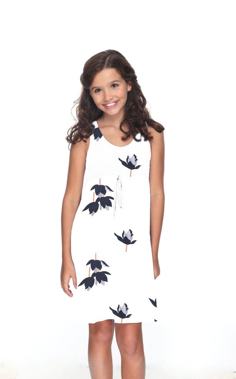 Vestido Mônica Infantil  - Flor de Lótus Ecru