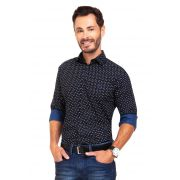 Camisa Social Slim Olimpo Estampada 100% Algodão Fio 60 Manga Longa Azul