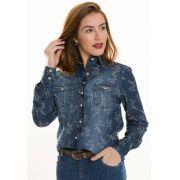 Camisa Camisete Jeans Feminino Olimpo Floral Manga Longa