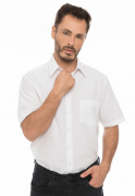 Camisa Social Masculina Olimpo Plus Size Lisa com Bolso Manga Curta