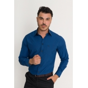 Camisa Social Masculina Olimpo Xadrez com Bolso 100% Algodão Egípcio Manga Longa