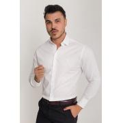 Camisa Social Slim Masculina Olimpo Manga Longa Branca