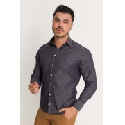 Camisa Social Slim Masculina Olimpo Maquinetada Poá Manga Longa