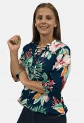 Camisete Feminino Olimpo Viscose Floral Manga ¾