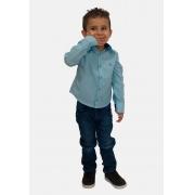 Pai e Filho - Camisa Maquinetada Azul Clara