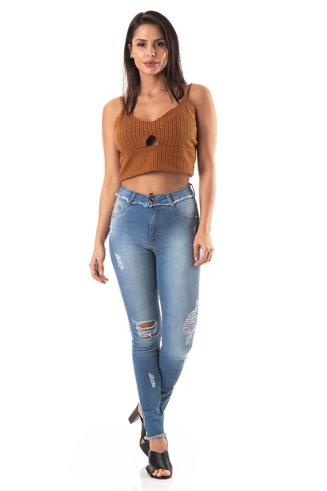 Calça Feminina Jeans Chapa Barriga