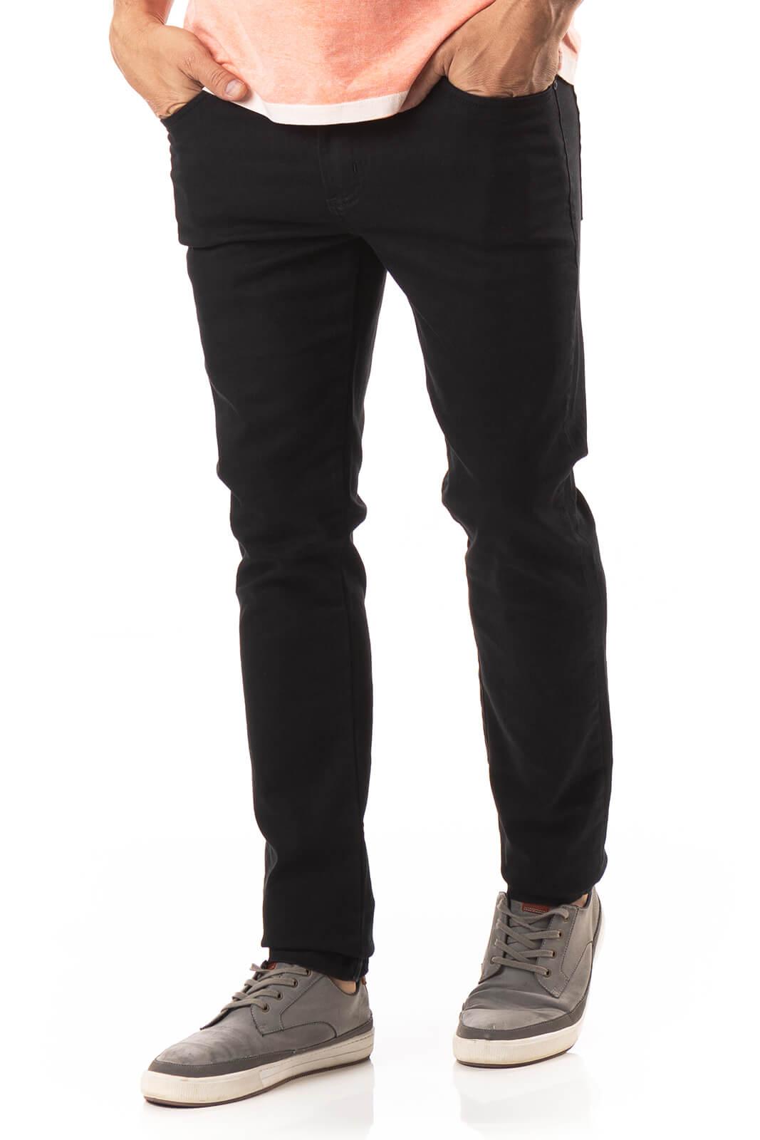 Calça Masculina Jeans Preta com Elastano