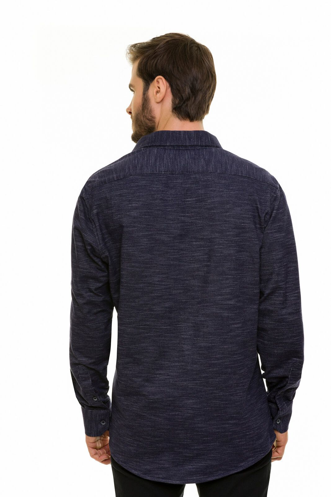 Camisa Blusa Moletinho Jeans Masculina Slim Olimpo Camisaria Manga Longa
