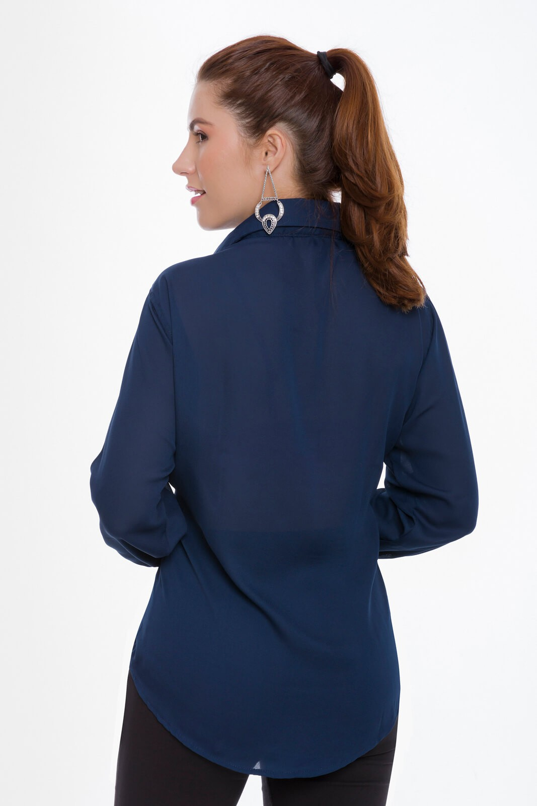 Camisa Feminina Olimpo Crepe Liso Manga Longa Azul Marinho