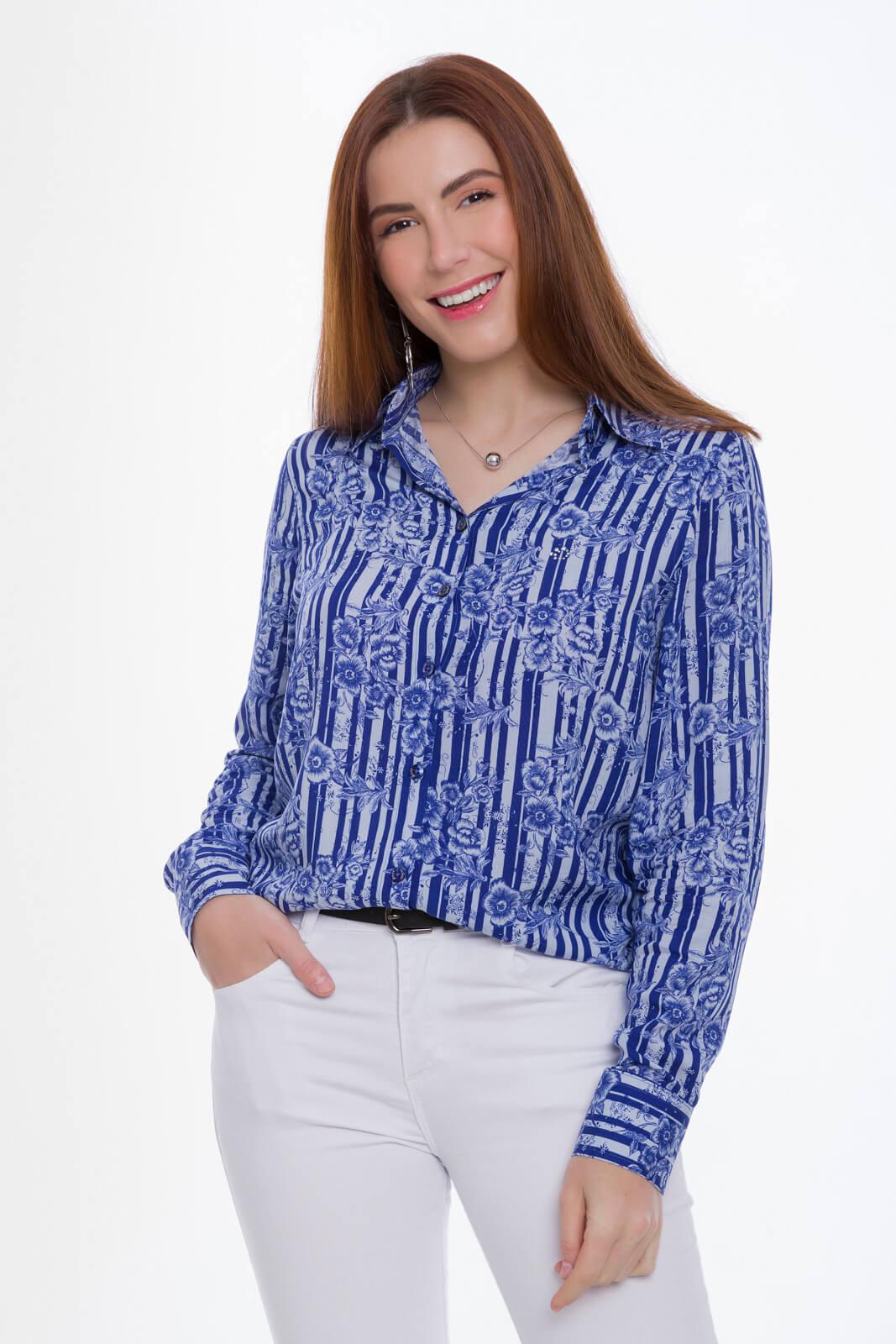 Camisa Feminina Olimpo Viscose Estampada Azul Floral Manga Longa