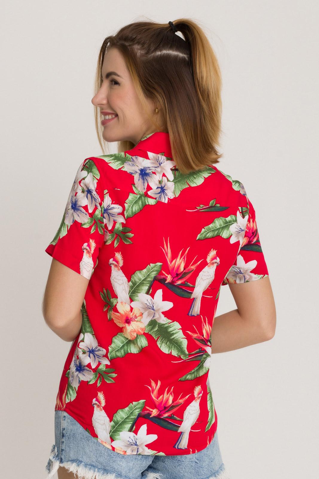 Camisa Feminina Olimpo Viscose Estampada Floral Manga Curta
