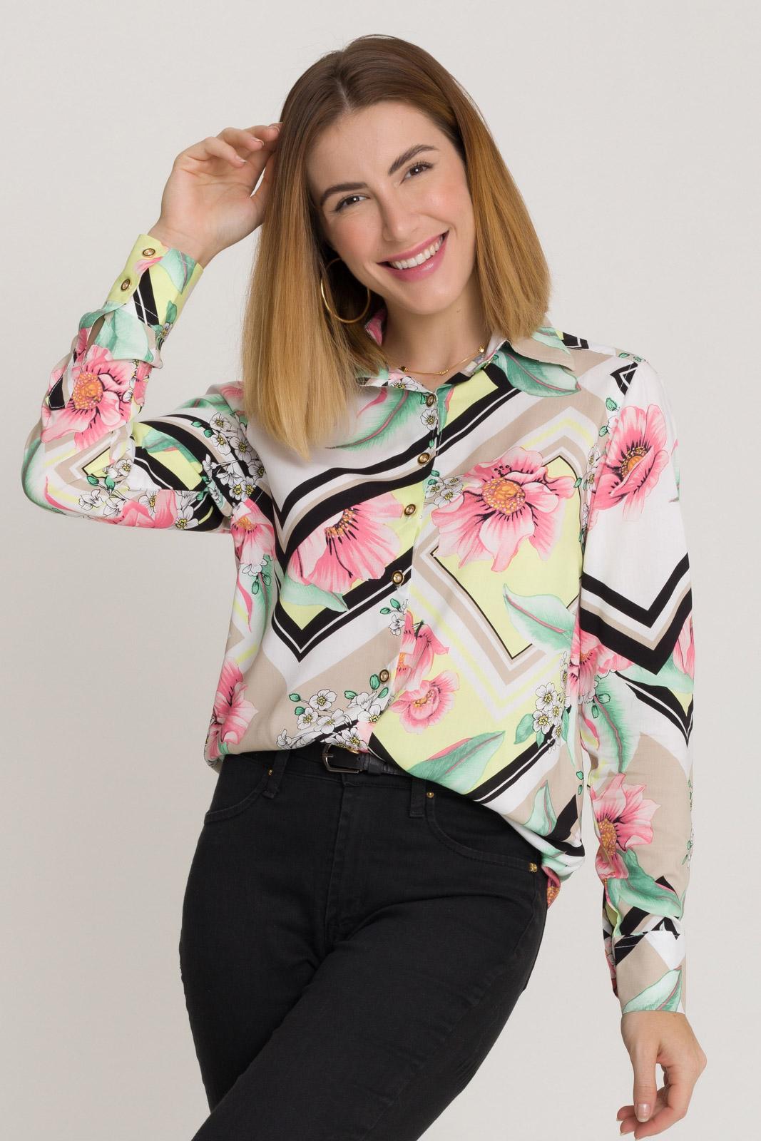 Camisa Feminina Olimpo Viscose Estampada Manga Longa