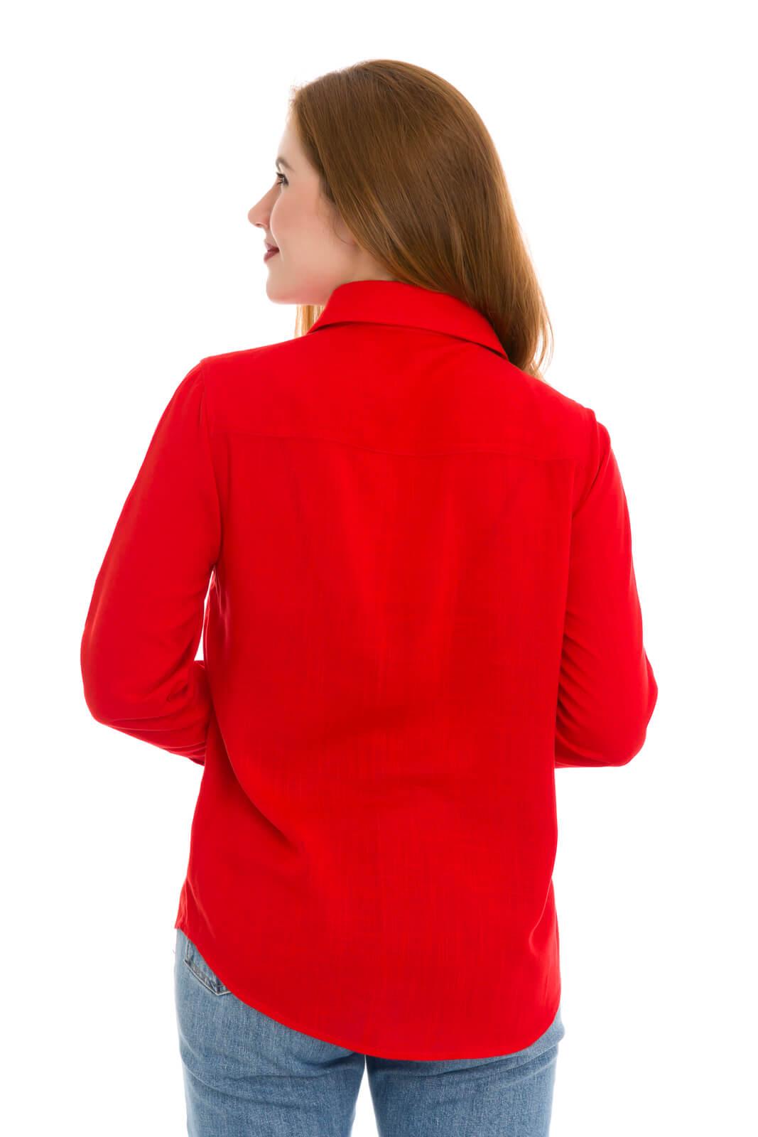 Camisa Feminina Olimpo Viscose Lisa com Bolsos Vermelha Manga Longa
