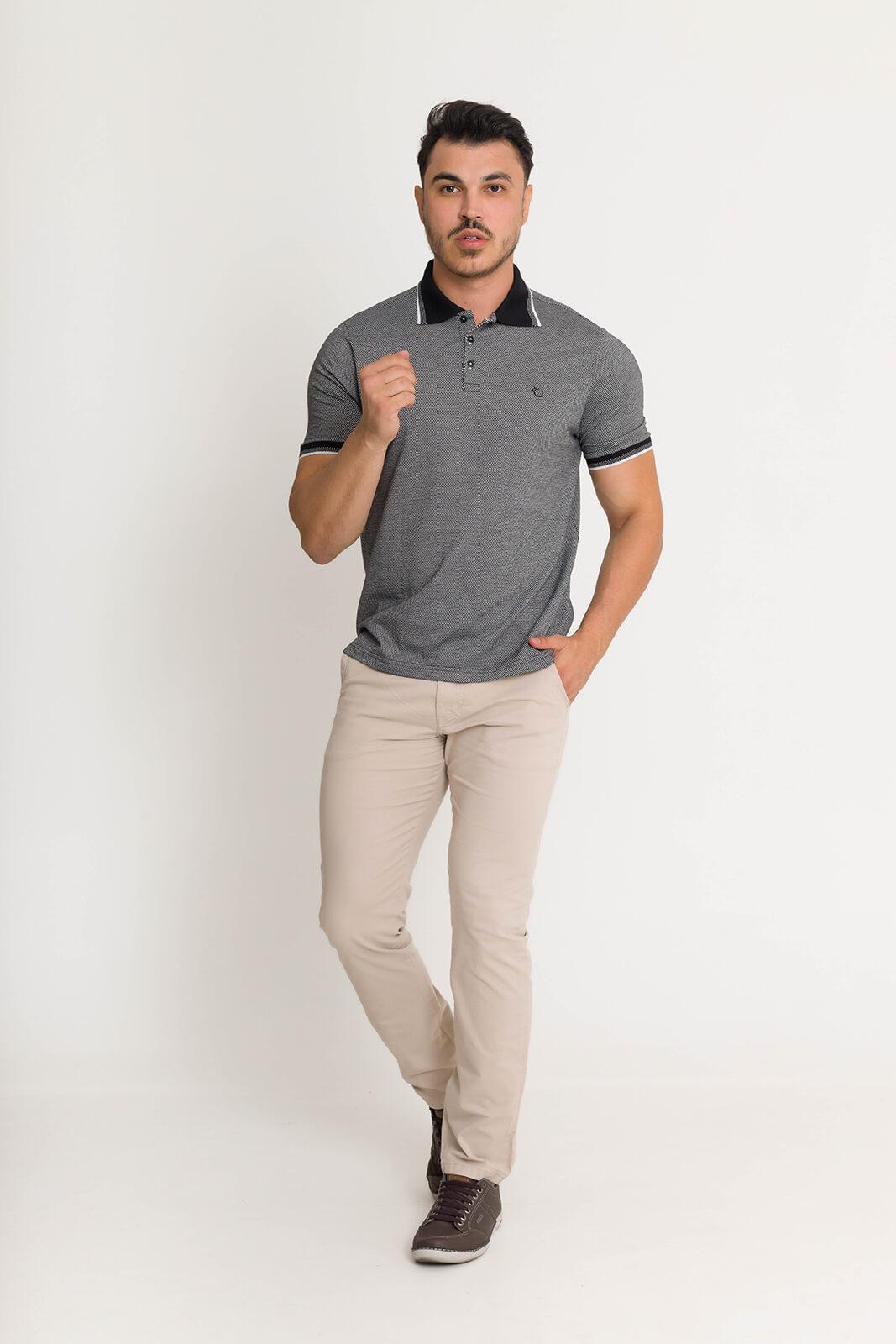 Camisa Gola Polo Olimpo Malha Jacguard