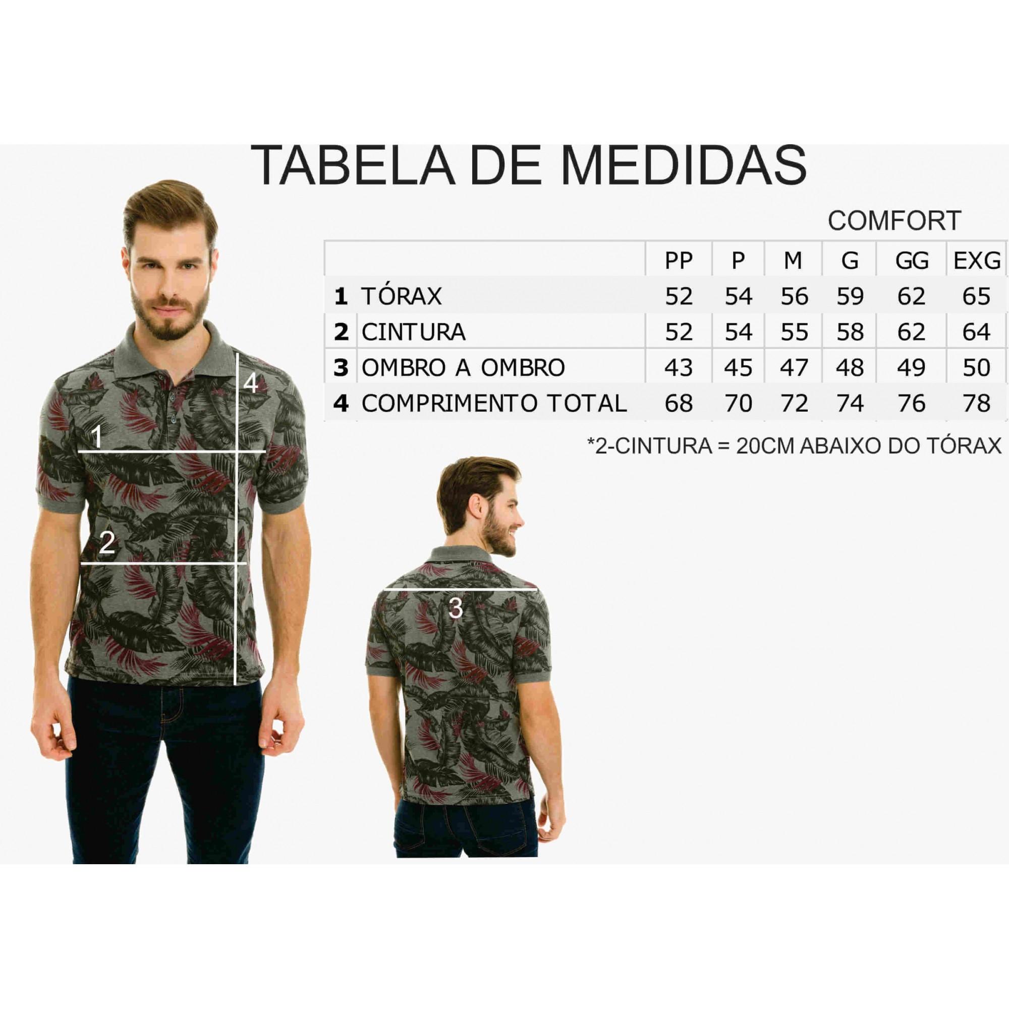 Camisa Gola Polo Olimpo Malha Jacguard com Bolso