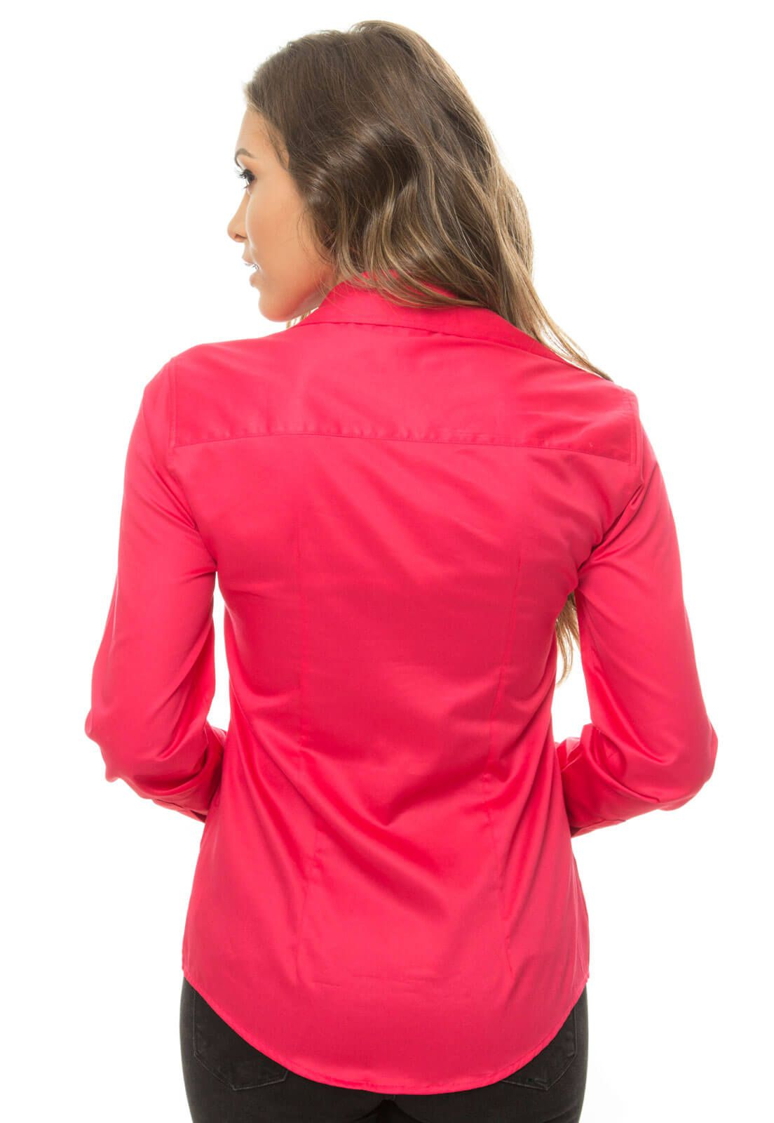 Camisa Camisete Feminino Olimpo 100% Algodão Fio 80 Manga Longa Rosa