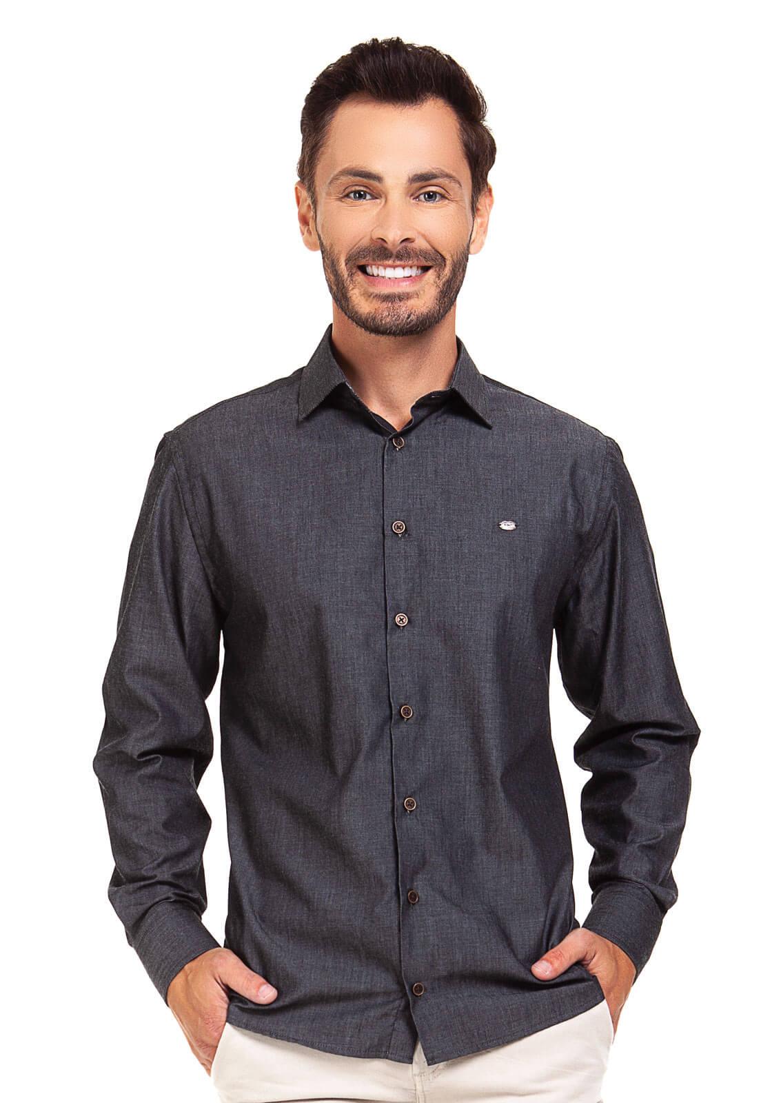 Camisa Social Masculina Slim Olimpo Chambray Liso Manga Longa Preta