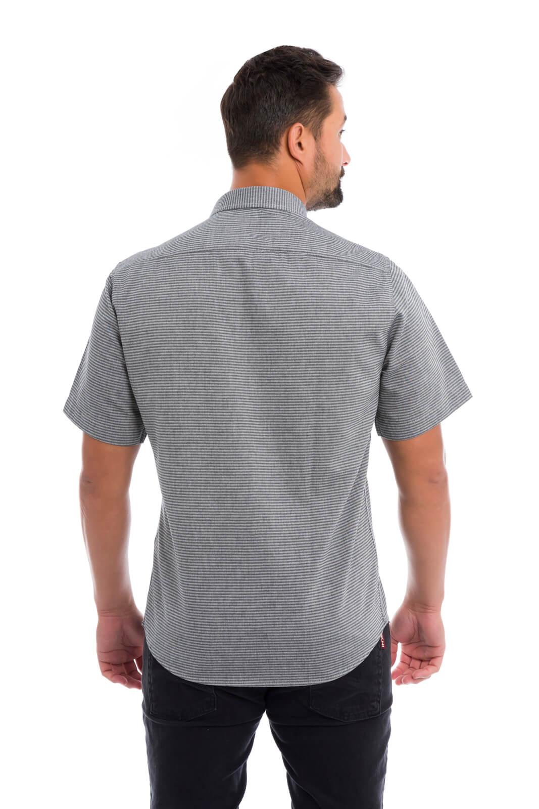 Camisa Social Masculina Slim Olimpo Chambray Listrado com Bolso Manga Curta Preta