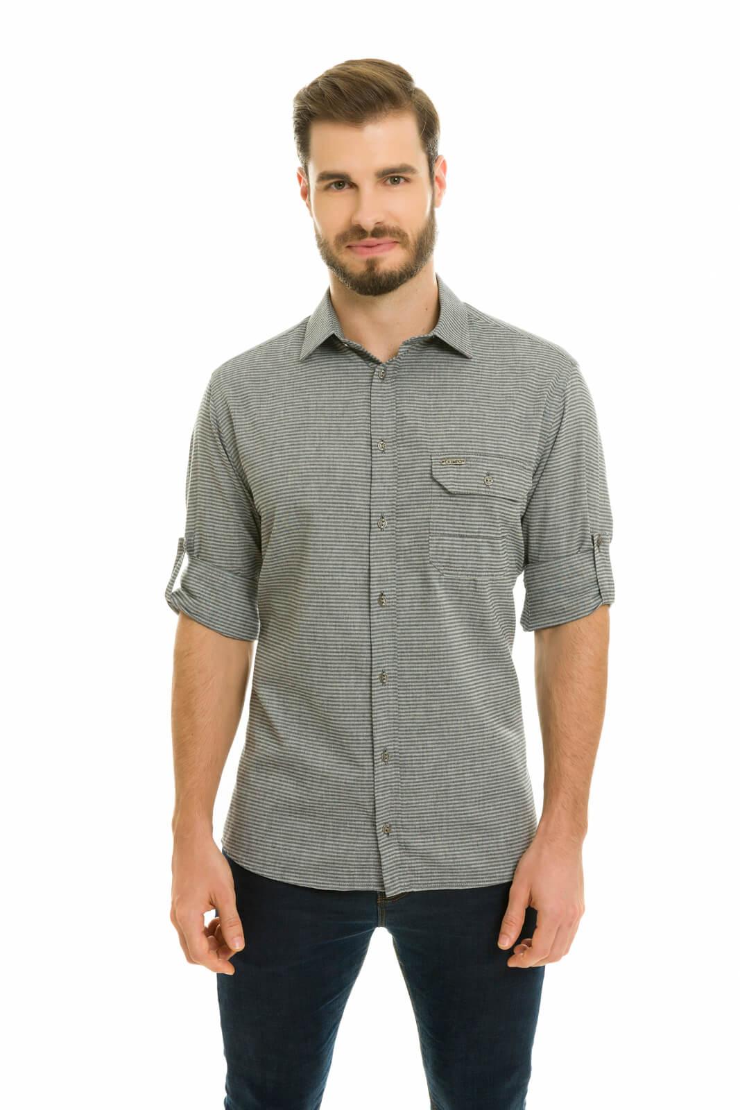 Camisa Social Masculina Slim Olimpo Chambray Listrado com Bolso Manga Longa Preta